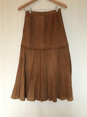 Suede 90s Vintage Pleated Skirt 10-12