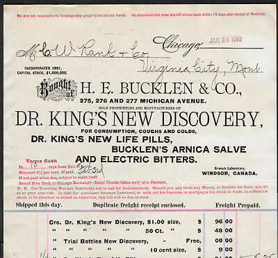 Electric Bitters Virgina City Montana Dr Kings New Discovery HE Bucklen Billhead