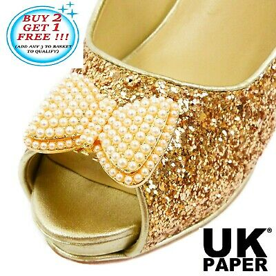 Decorative Bow Shoe Clips Diamante Crystal Pearl Gold Silver Charm Bridal Buckle