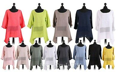de0608e2b19 New Ladies Italian Mesh Net Panel Linen Tunic Top Women Lagenlook Top Plus  Sizes