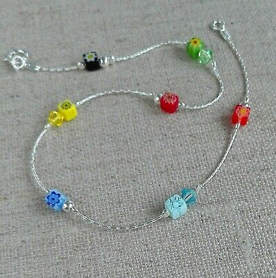 Fine Anklets Jewelry & Watches Anklet Murano Flowers Multicoloured 925 Sterling Silver Crystal Ankle Bracelet