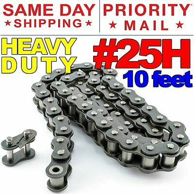 #25H Heavy Duty Roller Chain x 10 feet + Free Connecting Links + Same Day Ship