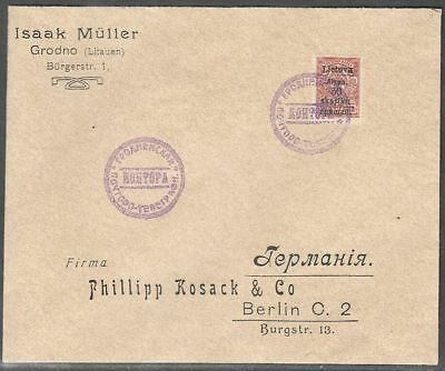 Lithuania 1919 (Gardinas) Cover to Germany with Mi 3A; SOLD WITHOUT WARRANTY