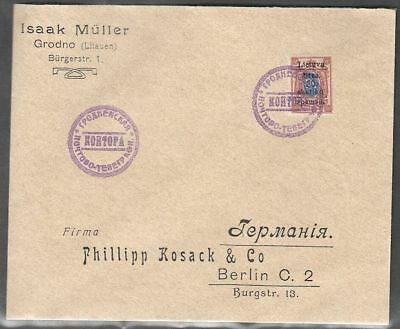 Lithuania 1919 (Gardinas) Cover to Germany with Mi 5A; SOLD WITHOUT WARRANTY