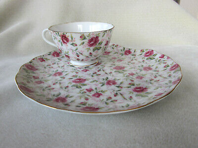 Vintage Lefton china rose chintz snack luncheon set