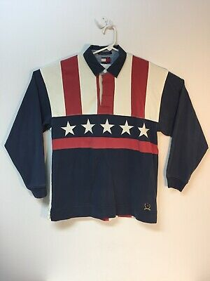 9a7d0151 Vintage Tommy Hilfiger Mens L Long Sleeve Stars & Stripes Rugby Shirt