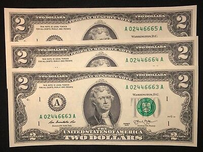 3 New Uncirculated 2 Two Dollar Bills 2013 - Three Mint Notes Sequential Crisp