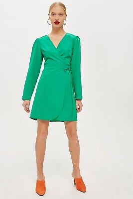 f6fdaaf542605 New TOPSHOP Petite Crepe Wrap Mini Dress GREEN Button SLEEVE US Size 8 $55