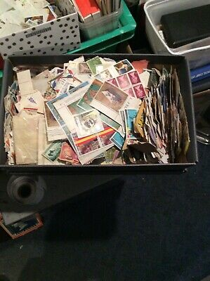 Shoebox Full Of Thousands Of Old Stamps
