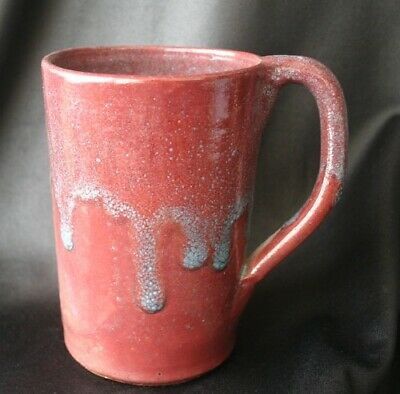 NORTH STATE POTTERY Red Blue Drip Glaze Mug NC