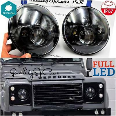 Pair Lights LED front Land rover DEFENDER 90 td5 110 Headlights 7'' H4 APPROVED