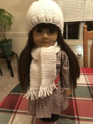 White Hand Knitted Hat And Scarf Set For American Girl Or Any 18 In. Doll