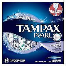 Tampax Pearl Tampons, Plastic, Light Absorbency, Unscented, 36 ct (Pack of 20)
