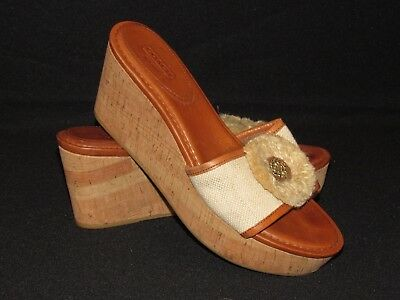 e5de768ebff5 COACH Jazmin Cork Wedge Platform Shoes Open Toe Women s Size 9.5 B