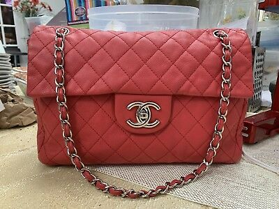 30ae9e54e Preowned Chanel Washed Caviar XL Soft Maxi Red Silver Hardware Classic Flap  Bag