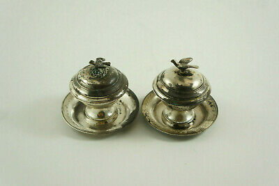 Pair of vintage Egpytian 900 solid silver salt cellars, lidded with trays