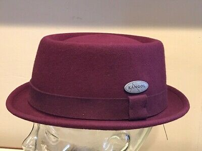 6c7e13d466f Authentic ~ KANGOL LiteFelt Porkpie Pork Pie Brim Wine Cap Hat Medium NEW