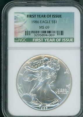 1986 American Silver Eagle Ase S$1 Ngc Ms69 Special First Year Tag
