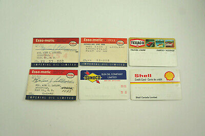 Lot: 6 vtg gas station credit cards: 1950s, 1970s, Esso, Sunoco, Shell, Texaco
