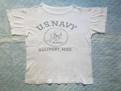 VINTAGE WW2 WWII 1940s USN US NAVY SEABEES T-Shirt