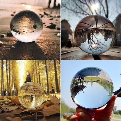 50/80mm Clear Glass Crystal Ball Healing Sphere Photography Props Decor Gifts