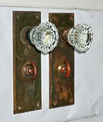 Antique Crystal Door Knob Backplate Set Sargent & Co Old Brass Hardware