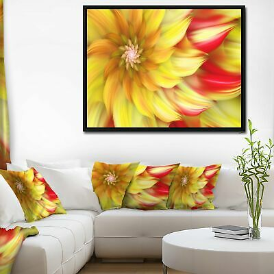Designart 'Rotating Yellow Red Fractal Flower' Floral Framed Canvas Art Print