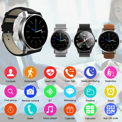 K88H Stainless Steel/Leather Band Smart Watch Heart Rate Monitor Fitness Tracker