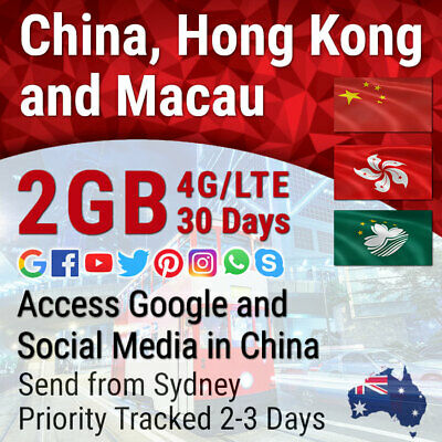 China Hong Kong Macau Travel Data Sim card 30 days 4G-2GB HK Number AU Retailer