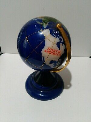 World Globe in blue and other coloured gemstones
