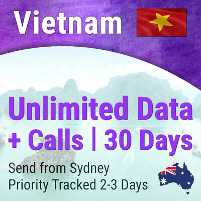 Vietnam Travel Data Sim card 30 days 4G-7GB 3G-Unlimited AU Retailer