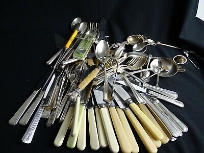 Bulk lot of Antique & Vintage Cutlery inc Candle Snuff Serving items Carving etc