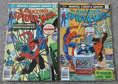 Amazing Spiderman 161 + 162 (nightcrawler + punisher + 1st jigsaw) 1976