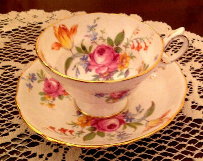 Beautiful RARE Hammersley Bone China Floral Footed Cup & Saucer Md in England