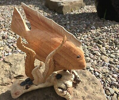 Fair Trade Hand Carved Made Wooden Beach Sea Marine Fish Whale Parasite Statue