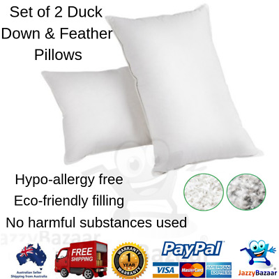 2 x Duck Feather Down Twin Pk Pillows 75 x 50cm Luxury Cotton Cover Bedding