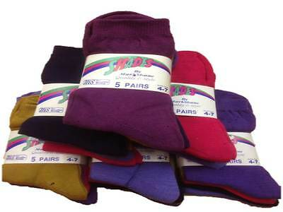 5 x MS Ankle calf socks Plain colors Gold Pink Blue Lilac Purple 4-7 Adults