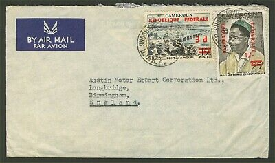 Cameroon Cameroun 1961 Airmail Cover Victoria To England Dual Currency