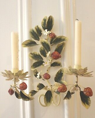 Vintage Tole Strawberry Sconce Two Candle SALE