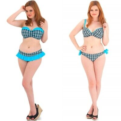 Curvy Kate Cocoloco Bandeau Top, Padded Plunge Top, Skirted Brief,