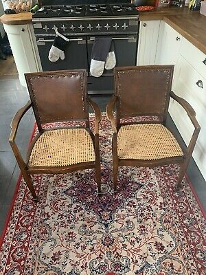 Pair Of Lovely Old Antique Oak Chairs With Leather Backs Wicker Rattan Seats