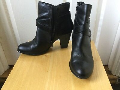 Monsoon Black Leather Ankle Boots Size 5 38 Immaculate Worn Twice