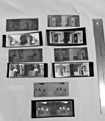 Lot of 5 Stereo Glass Negatives * Kids * Woman * Dog * w/ Contact Printed Images
