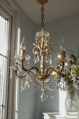 *Gorgeous* Large Elegant 5 Light Vintage French Brass & Crystal Drop Chandelier