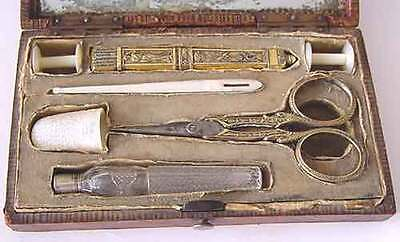 19th French Mother of Pearl Tool Sewing Thimble Scissor gold plated Needle Case