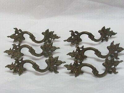 6 Antique Fancy Brass French Provincial Furniture Pulls Handles