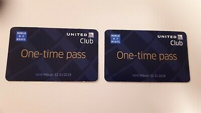 2 (two) UNITED CLUB LOUNGE ONE TIME PASS [$118 VALUE] Exp 12/31/2019