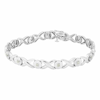 """1/4 Ct TDW """"X"""" and """"O"""" Line Bracelet in Sterling Silver - 9'6"""" x 13'6"""""""