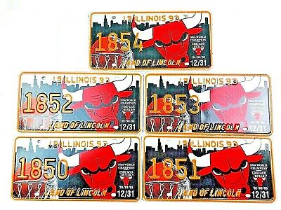 Chicago Bulls License Plates 5 Pack Sports Bar NBA Basketball Man Cave Vtg Decor