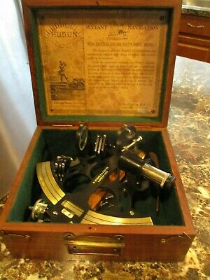 Vintage H. Hughes & Son Ltd London 1920 Sextant w. box and sundial compass